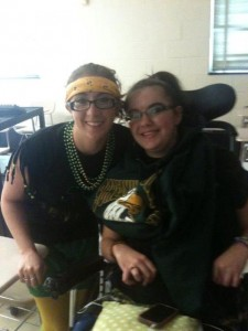Me and Morgan in coach Songs class Spirit Day! Seniors baby!